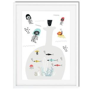 Tengeri utazás2 gyerekszoba dekoráció KERETTEL, Skandináv minimál stilusú falikép, Keresztelő szülinapi babaváró ajándék, Lakberendezés, Otthon & lakás, Gyerek & játék, Dekoráció, Gyerekszoba, Baba falikép, Fotó, grafika, rajz, illusztráció, Palackpostát találtam! NA DE MIT REJT? halakat, néhány hínárt és még mit???? \nFantáziádra bízom, his..., Meska