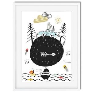 Skandináv minimál stilusú gyerekszoba falidekor KERETTEL, 1 éves szülinapi poszter, Tengeri világ témájú polip medúza, Otthon & lakás, Gyerek & játék, Dekoráció, Gyerekszoba, Képkeret, Lakberendezés, Falikép, Fotó, grafika, rajz, illusztráció, Igazi gyermeki fantáziával megáldott poszter! Autók, tengeri herkentyűk, egy kis csillagles, és az e..., Meska