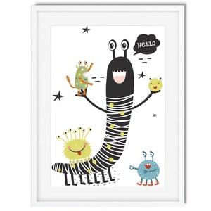 Skandináv minimál stilusú szörnyes babaszoba poszter KERETTEL, Szülinapi poszter, Keresztelő ötlet, Mesélő fal Ovis zsúr, Lakberendezés, Otthon & lakás, Gyerek & játék, Dekoráció, Gyerekszoba, Baba falikép, Fotó, grafika, rajz, illusztráció, A szörnyek nagyon félelmetesek! NA DE NEM EZEK! ???? Bár zöldek, kékek rózsaszínek, mindig mosolyogn..., Meska
