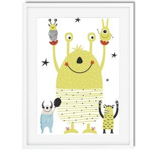 Skandináv minimál stilusú szörnyes babaszoba poszter KERETTEL, Szülinapi poszter, Keresztelő ötlet, Mesélő fal, Otthon & lakás, Gyerek & játék, Dekoráció, Gyerekszoba, Baba falikép, Fotó, grafika, rajz, illusztráció, A szörnyek nagyon félelmetesek! NA DE NEM EZEK! ????\nBár zöldek, kékek rózsaszínek, mindig mosolyogn..., Meska