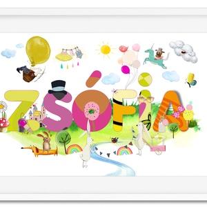 Egyedi kislány névtábla poszter KERETTEL, Keresztelő ajándék, Szülinapi névadó monogram névreszóló gyerekszoba print, Gyerek & játék, Gyerekszoba, Dekoráció, Otthon & lakás, Lakberendezés, Képkeret, Falikép, Fotó, grafika, rajz, illusztráció, Kisbaba érkezik a családba? \nBabalátogatóba mész?\nBiztosan telitalálat lesz ez a vidám színekből, fő..., Meska