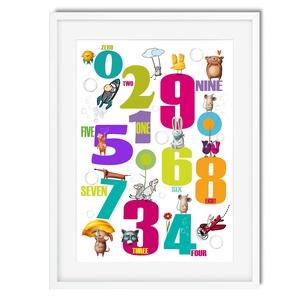 Montessori tanulószám poszter KERETTEL, Vidám állatok falikép, Tanulószám óvoda bölcsőde dekoráció,Ovis zsúr szülinapra, Gyerek & játék, Gyerekszoba, Baba falikép, Otthon & lakás, Dekoráció, Képkeret, Fotó, grafika, rajz, illusztráció, Feldobnád a gyereked szobáját, vagy ajándékba keresel valami igazán egyedit kis emberek számára? Akk..., Meska