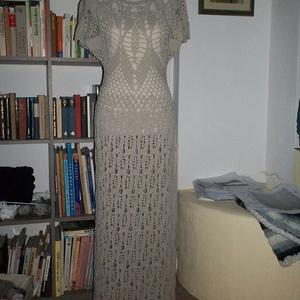 Drapp elasztikus hosszú női ruha, Ruha, Női ruha, Ruha & Divat, Horgolás, Pamutból készült ez a romantikus ruha. Mivel a fonal tartalmaz 5% elasztánt, hihetetlenül rugalmas, ..., Meska