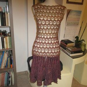 Őszi színű horgolt rövid ruha pamut fonalból - Meska.hu