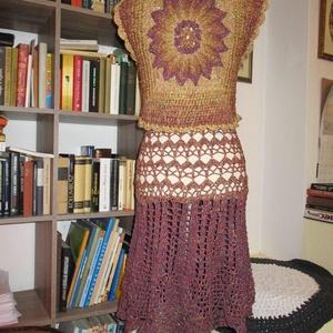 Kis mellény különleges mintával őszi színben, Táska, Divat & Szépség, Ruha, divat, Női ruha, Kabát, Póló, felsőrész, Blúz, Horgolás, Pamut anyagból készítettem ezt a kis mellényt, melynek hátán egy szép térbeli minta található. \nA kí..., Meska