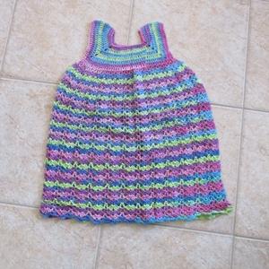 Bambusz fonalból horgolt kislány ruha, Ruha, Babaruha & Gyerekruha, Ruha & Divat, Horgolás, Bambusz fonalból horgoltam ezt a könnyű, nyári ruhát kislányoknak.\nMellbősége 56 cm, hossza 60 cm...., Meska