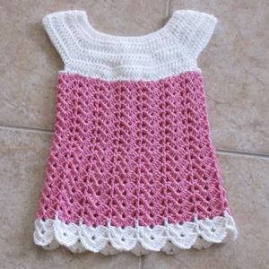 Rózsaszín-fehér horgolt kislány ruha, Ruha & Divat, Ruha, Babaruha & Gyerekruha, Horgolás, Meska