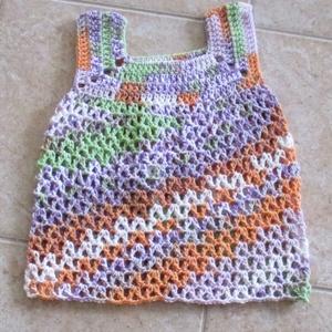 Őszi pasztell horgolt kislány ruha, Ruha, Babaruha & Gyerekruha, Ruha & Divat, Horgolás, Őszi színvilágú horgolt kislány ruhát készítettem.\nMellbősége 50 cm, hossza 42 cm., Meska