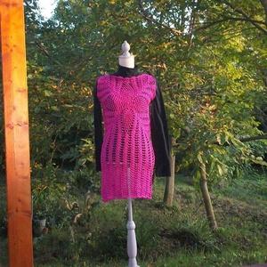 Pink horgolt ruha, Ruha, Női ruha, Ruha & Divat, Horgolás, Különleges fonalból készült ez a pink ruha.\nMellbőség 90 cm, hossza 85 cm., Meska