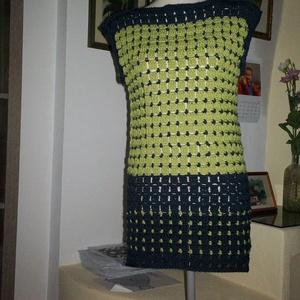 Kék-zöld modern női felsőrész, Póló, felső, Női ruha, Ruha & Divat, Horgolás, Gyapjú tartalmú fonalból horgoltam ezt a mellényt. \nMellbősége 90-95 cm, hossza 85 cm., Meska