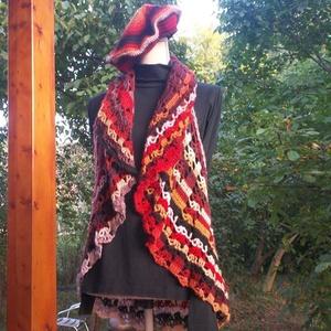 Tűzes színű horgolt körmellény, Mellény, Női ruha, Ruha & Divat, Horgolás, Különleges karakterű fonalból horgoltam ezt a csodás női felsőrészt. Jó esésű az anyaga, így fodorké..., Meska