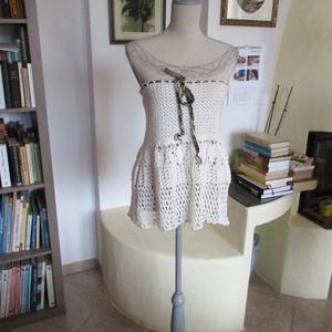 Nyers színű női ruha, Ruha, Női ruha, Ruha & Divat, Horgolás, Többféleképpen hordható darabot készítettem.\nDerékbősége állítható max 85 cm,\nhossza 50 cm...., Meska