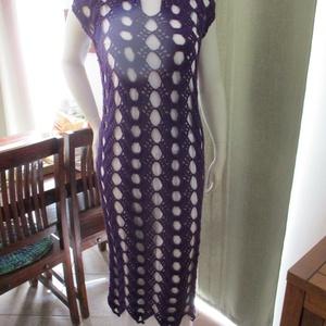 Szalaghorgolásos horgolt hosszú női ruha, Ruha & Divat, Ruha, Női ruha, Különleges felépítésű ez a kellemes lila női ruha. Anyaga rugalmas, így sokféle alkatú hölgynek megf..., Meska