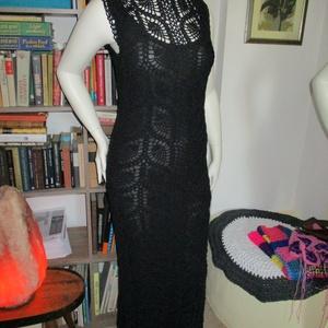 Fekete hosszú horgolt ruha (naturani) - Meska.hu