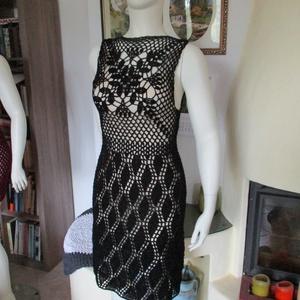 A kis fekete :-), Ruha, Női ruha, Ruha & Divat, Horgolás, Könnyed fekete ruhát horgoltam fényes szállal díszített fonalból az extravagáns darabok kedvelőinek...., Meska