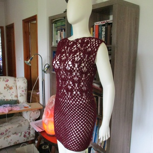 Padlizsán színű horgolt női ruha pillangókkal, Ruha & Divat, Női ruha, Ruha, Horgolás, Fémszállal díszített fonalból horgoltam ezt a csinos ruhát. Alkalmi ruhának is jó szívvel ajánlom.\nM..., Meska