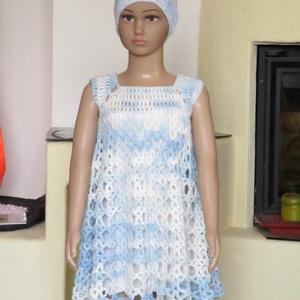 Világoskék horgolt kislány ruha , Ruha, Babaruha & Gyerekruha, Ruha & Divat, Horgolás, Mikrofiber fonalból horgoltam ezt a kislány ruhát.\nMellbősége 50 cm, hossza 55 cm., Meska