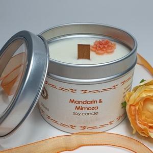 Szójaviasz gyertya/Mandarin-Mimóza, Otthon & lakás, Lakberendezés, Gyertya, mécses, gyertyatartó, Gyertya-, mécseskészítés, Nagyon kellemes gyümölcsös-enyhén virágos illatú természetes, méreganyagoktól mentes illatgyertya. P..., Meska