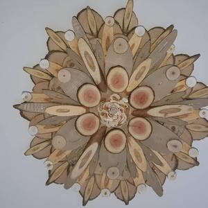 mandala szeletelt fából, Otthon & Lakás, Dekoráció, Mandala, Famegmunkálás, Mindenmás, Virágok, napfény, tavasz.... faszeletekből ragasztott koszorú, mondhatni a mandala modern, emeletes ..., Meska