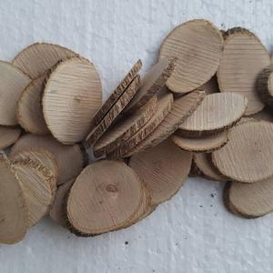 Ovális fakorong, Fa, Egyéb fatermék, Famegmunkálás, Kisebb méretű, 2-3 cm hosszú, 2-2,5 cm széles, 2-3 mm vastag natúr faszeleteket ajánlok dekorációs c..., Meska