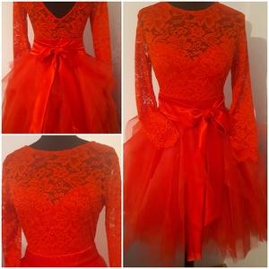 Piros body szoknyával, Esküvő, Ruha, Menyecske ruha, Varrás, Csipke body szoknyával., Meska