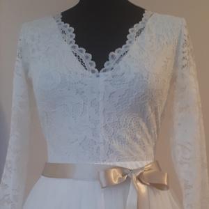 Csipke body hosszú újjal, Esküvő, Ruha, Menyasszonyi ruha, Varrás, Elasztikus csipke body. Kényelmes ,könnyű viselet., Meska