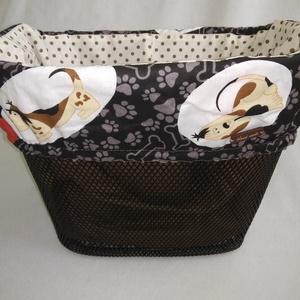 Kerékpár kosártáska, biciklikosár táska 2in1 barna kutyás, Táska & Tok, Biciklis & Sporttáska, Biciklis táska, Kutyabarátoknak :)  Dekoratív része lehet a kerékpárnak, védi a kosárba helyezett táskát, egyéb tárg..., Meska