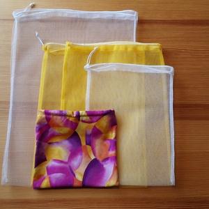 4 db-os tüllzsák-szett bevásárláshoz, ajándék tárolóval - sárga / fehér (nectar) - Meska.hu