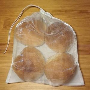 """Vászon-organza zsák pékáru vásárlásához, \""""M\""""-es méret (25 x 30cm), Kenyeres zsák, Bevásárlás & Shopper táska, Táska & Tok, Varrás, Tegyél Te is egy lépést a környezettudatosság felé: felejtsd el az egyszer használatos nejlonzacskók..., Meska"""