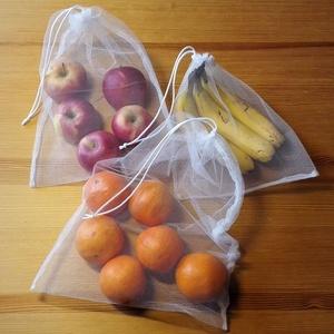 4 db-os tüllzsák-szett bevásárláshoz ajándék tárolóval - fehér (nectar) - Meska.hu