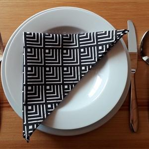 Textil szalvéta szett – fekete/fehér mintás (6, 8, 10, 12 db / szett)  (nectar) - Meska.hu