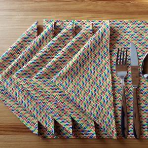 Textil szalvéta szett – színes mintás (6, 8, 10, 12 db / szett) , NoWaste, Textilek, Kendő, Varrás, Mosható, sokszor használható textil szalvéta szett 100 % Öko-Tex minősítésű pamutvászonból – egyszer..., Meska