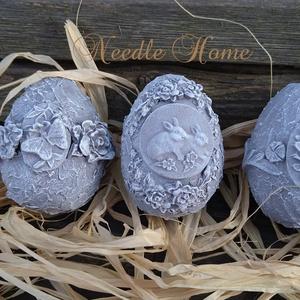 """Húsvéti \""""kő\"""" tojás , Otthon & Lakás, Dekoráció, Dísztárgy, Gyurma, Polisztirol húsvéti tojások egy kicsit más köntösben. Kőhatásúra festve nyuszis, pillangós illetve  ..., Meska"""