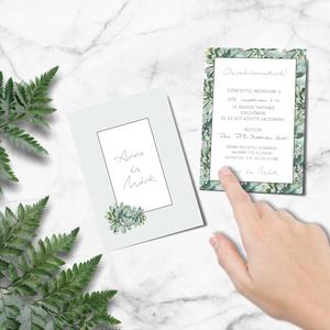 Esküvői meghívó, divatos, greenery stílus, kövirózsás,, Meghívó, Meghívó & Kártya, Esküvő, Fotó, grafika, rajz, illusztráció, Papírművészet, RO M A N T I K U S A K V A R E L L E S K Ü V Ő I M E G H Í V Ó\n\nEsküvői meghívó igényes kialakítássa..., Meska