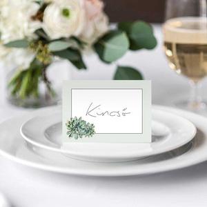 Esküvői ültetőkártya, ültetőkártya, divatos, greenery stílus, kövirózsás, (bonniesweddingart) - Meska.hu