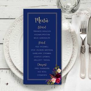 Elegáns kék menülap, esküvői menülap, kék menülap, bordó akvarell virágokkal  (bonniesweddingart) - Meska.hu