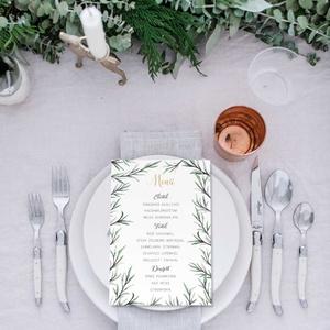 Greenery stíluú esküvői menülap, greenery menülap, esküvői menülapl, akvarell hatású levelekkel, zöld menülap, Menü, Meghívó & Kártya, Esküvő, Fotó, grafika, rajz, illusztráció, Papírművészet, L E T I S Z T U L T  G R E E N E R Y   S T Í L U S Ú   E S K Ü V Ő I   M E N Ü L A P\n\nEsküvői menüla..., Meska