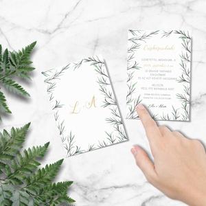 Greenery stílusú esküvői meghívó, letisztult, akvarell hatású levelekkel, Meghívó, Meghívó & Kártya, Esküvő, Fotó, grafika, rajz, illusztráció, Papírművészet, L E T I S Z T U L T  G R E E N E R Y   S T Í L U S Ú   E S K Ü V Ő I   M E G H Í V Ó\n\nEsküvői meghív..., Meska