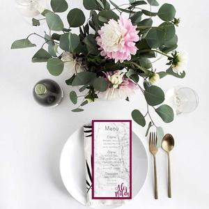 Márvány hatású esküvői menülap, márvány menülap, esküvői menülap, bordó menülap, 2018 (bonniesweddingart) - Meska.hu