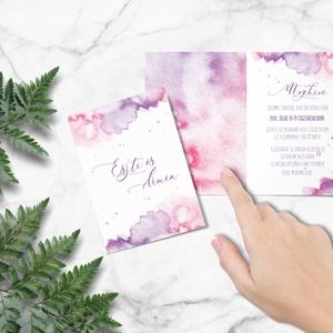 Romantikus esküvői meghívó, esküvői meghívó, akvarell hatású, lila, rózsaszín (bonniesweddingart) - Meska.hu