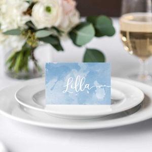 Kék esküvői menülap, akvarell menülap, kék menülap, esküvői menülap, felhő (bonniesweddingart) - Meska.hu