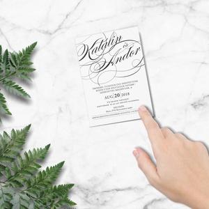 Grafikai esküvői meghívó, fekete-fehér meghívó, kalligrafikus meghívó, esküvői meghívó, kalligráfia, 2018, modern, Meghívó, Meghívó & Kártya, Esküvő, Fotó, grafika, rajz, illusztráció, Papírművészet, M O D E R N E S K Ü V Ő I M E G H Í V Ó \n\nEsküvői meghívó igényes kialakítással. \n\nMÉRET: A6 (105x14..., Meska