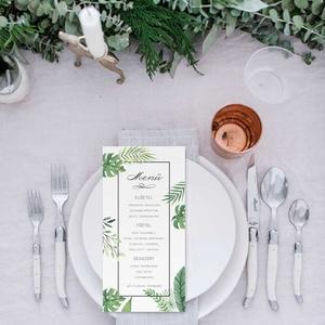 Greenery esküvői menülap, zöld menülap, esküvői menülap, kalligráfia, 2018, modern, trópusi, leveles (bonniesweddingart) - Meska.hu