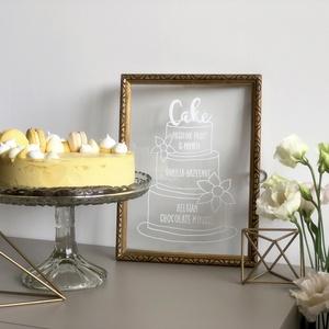 Esküvői tábla, menyasszony, torta, acryl tábla, plexi , átlátszó, modern, elegáns , Helyszíni dekor, Dekoráció, Esküvő, Festett tárgyak, E G Y E D I Á T T E T S Z Ő E L E G Á N S E  S  K Ü V Ő I T O R T A T Á B L A\n\nElegáns, trendi esküv..., Meska