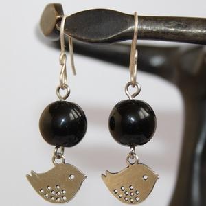Ezüst fekete madárkás fülbevaló (NeferDesign) - Meska.hu