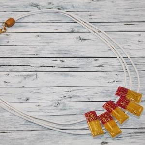 Három soros elegáns, alkalmi napsárga lila nyaklánc (NeferDesign) - Meska.hu