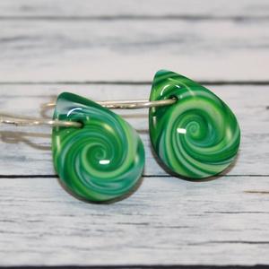 Mini csepp  zöld fülbevaló (NeferDesign) - Meska.hu
