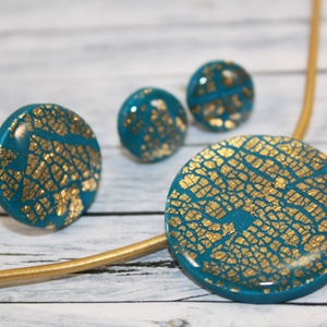 Elegáns tenger kék és arany csillámos nyaklánc, fülbevaló és gyűrű szett (NeferDesign) - Meska.hu