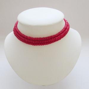 Piros kaláris - 3 soros, Párhuzamos nyaklánc, Nyaklánc, Ékszer, Ékszerkészítés, Hagyományos magyar népi gyöngyfűzés. Néptáncosnak, népi énekesnek, vagy egyszerűen a mindennapokra. ..., Meska
