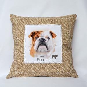 Bulldog Díszpárna, Otthon & lakás, Dekoráció, Lakberendezés, Férfiaknak, Varrás, Kedves bulldog tulajdonosok és kutyabarátok ez a gyönyörű díszpárna nektek készült! Ez a meseszép és..., Meska